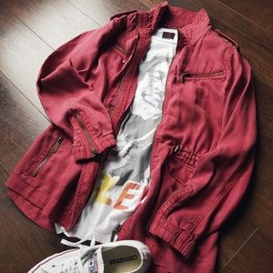 Max Jeans Red Utility Jacket